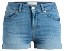 PIECES Mid Waist Denim Shorts Women Blue