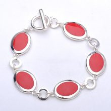 Adara con maglie ovali, in argento, smalto rosso, lunghezza 19 cm