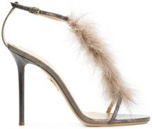 Charlotte Olympia - Sandali con piume - women - Leather/Feather - 36, 37, 37.5, 38 - GREY