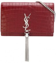 Saint Laurent - crocodile embossed 'Kate' clutch - women - metal/Leather - OS - RED