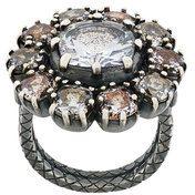 Bottega Veneta - Anello decorato - women - Sterling Silver/Zirconium - 51.2, 53.1, 41.6, 52.5 - METALLIC