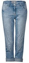 Cecil 371296 Charlize Flower Laser, Jeans Slim Donna, Blau (Authentic Used Wash 10317), W28/L26