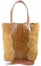 Borsette Vera Pelle  Shopper Bag Krokodyl A4 Camel