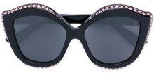 Gucci Eyewear - occhiali da sole a occhio di gatto con cristalli - women - Acetate/Swarovski Crystal - OS - BLACK