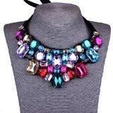 Strass Colorati Collana Di Perline Geometrica Bib Choker Collare Moda Femminile Collane