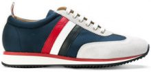 Thom Browne - Running Shoe With Red, White And Blue Stripe In Cotton Blend Tech - women - Leather/Polyester/rubber - 36, 37, 38, 39 - BLUE