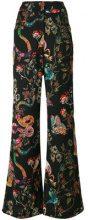 Etro - Pantaloni a palazzo stampati - women - Silk/Wool - 42 - Nero