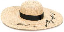 Karl Lagerfeld - embroidered logo hat - women - Raffia - One Size - NUDE & NEUTRALS