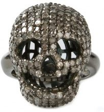 Christian Koban - Anello diamantato 'Skull' - women - Sterling Silver - M - GREY