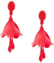 Oscar de la Renta - small Impatiens C earrings - women - Plastic/glass/Brass - OS - RED