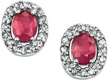 Elements Donna 9cts (375) Oro bianco Ovale rosso Rubino Diamante FINEEARRING