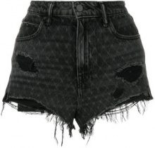 Alexander Wang - bite net cut off shorts - women - Cotton - 28, 29, 26, 27 - BLACK