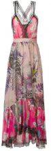 Just Cavalli - lace trim floral dress - women - Silk/Polyamide/Polyester/Viscose - 40 - PINK & PURPLE