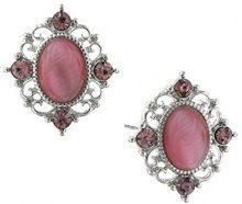 1928 Jewelry-Orecchini, argento, ametista, colore: viola con cristalli e occhio di gatto Orecchini a bottone