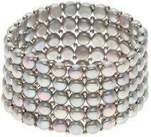 Pearls & Colors amp;-Braccialetto multifilo, in acciaio inox, con Perle d'acqua dolce, 14 PC-BRN24 cm