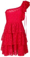 Giamba - floral pattern frilled dress - women - Polyester - 40 - RED
