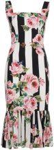 Dolce & Gabbana - Abito a righe con rose stampate - women - Silk/Spandex/Elastane - 44 - BLACK