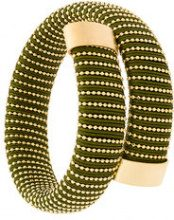 Carolina Bucci - Caro cuff bracelet - women - Silver/Cotton - OS - GREEN