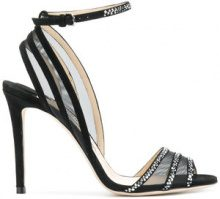 Jimmy Choo - Betty sandals - women - Leather/Suede/Polyester/Crystal - 37, 37.5, 40, 41 - BLACK
