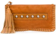 Red Valentino - Clutch decorate - women - Leather/Suede - OS - BROWN