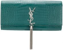Saint Laurent - tassel clutch bag - women - Calf Leather - OS - Verde