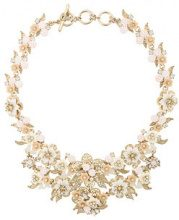 Marchesa Notte - floral brocade collar - women - Gold Plated Brass/Crystal - OS - YELLOW & ORANGE