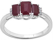 Jewelili Donna  9 carati  oro bianco smeraldo   rosso Rubino Topazio FASHIONRING