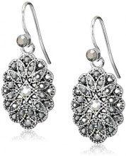 1928 Jewelry-Orecchini con cristalli di ematite, colore: argento, tonalità Orecchini con pendente ovale