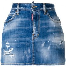 Dsquared2 - distressed denim skirt - women - Cotton/Polyester/Spandex/Elastane - 36, 38, 40, 42, 44 - BLUE