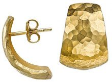 Dower & Hall - Orecchini a perno semicircolari, rastremati, con effetto martellato in stile nomade, argento, colore: Gold