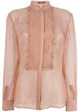 Roberto Cavalli - pleated bib blouse - women - Silk - 38, 42 - PINK & PURPLE