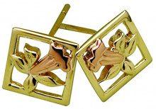 Oro a 9ct Clogau Orecchini a bottone Narciso di San Davide in oro giallo e rosa