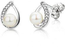 Miore Orecchini Donna Perle di fiume Piccoli a Lobo Diamanti taglio Brillante ct 0.06 Oro Bianco 9 Kt/375