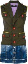 Dsquared2 - contrast button-down shirt dress - women - Cotton/Viscose/Polyester/Spandex/Elastane - 38, 40, 42, 36, 44 - GREEN