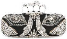 Alexander McQueen - 'Knuckle' long box clutch - women - Viscose/Silk/metal/glass - OS - BLACK