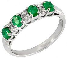Ivy Gems Donna 9 carati oro bianco Ovale verde Smeraldo