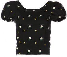 Miaou - daisy embroidered corset crop top - women - Cotton/Spandex/Elastane - XS, S, L - BLACK