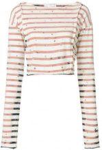Faith Connexion - T-shirt corta a righe - women - Cotton/Brass/glass/Acrylic - S, XS, M - NUDE & NEUTRALS