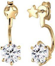 Elli, orecchini da donna, chiusura davanti e dietro, motivo: stelle, argento 925 parzialmente placcato oro, cristallo bianco taglio brillante - 0305230415