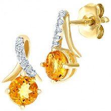 Naava Donna 9 carati oro giallo Rotonda giallo Quarzo citrino Diamante