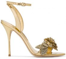 Sophia Webster - Gold lilico crystal 110 leather sandals - women - Leather - 36, 36.5, 37, 38 - METALLIC