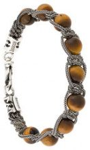 Emanuele Bicocchi - Bracciale a catena con perline - women - Silver/Resin - XS - BROWN