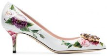 Dolce & Gabbana - White, Pink And Green Rose Crystal Embellished 60 Leather Pumps - women - Calf Leather/Leather - 35,5, 36, 36,5, 37, 38, 38,5, 39...