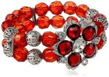 1928 Jewelry Orecchini in argento, con cristalli e braccialetto elasticizzato con perline, motivo floreale, colore: rosso, lunghezza: 43 cm