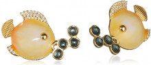 Misis Donna-OrecchiniAngel Argento 925 Zirconi bianchi Zaffiro naturale smalto 2.3 cm - OR09167