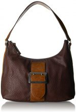 Tamaris Lee Hobo Bag - Borse a spalla Donna, Braun (Dark Brown Comb), 12x28x32 cm (B x H T)