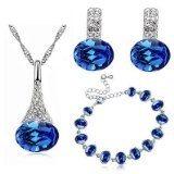 Klaritta S838 - Set elegante gioielli ciondolo, orecchini e bracciale, colore: blu scuro