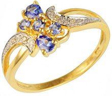 Ivy Gems-Pendente in oro giallo 9 kt, con Tanzanite e diamanti, Misura: 17