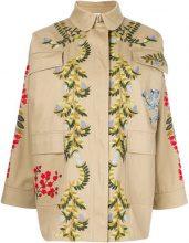 Red Valentino - Caban con fiori ricamati - women - Cotton/Polyester - S, M, L - NUDE & NEUTRALS