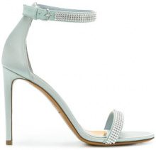 Alexandre Vauthier - Sandali decorati con diamanti sintetici - women - Leather/Satin/Rhinestone - 36, 37.5, 38, 39, 40, 41 - GREEN